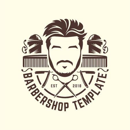 Vintage Barbershop-Logo-Vorlage, Retro-Stil, mit bärtigem Mann und Friseurwerkzeugen Logo