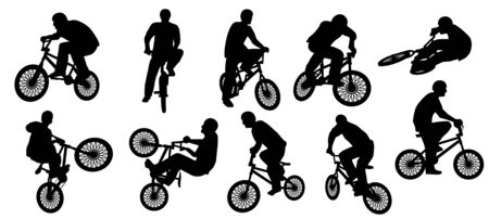 Vector set of BMX Silhouette or bicycle silhouette Vetores