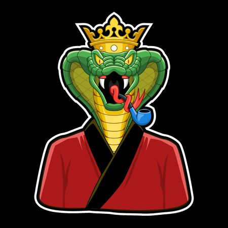 King Cobra character, cobra with crown and smoking pipe and pajama