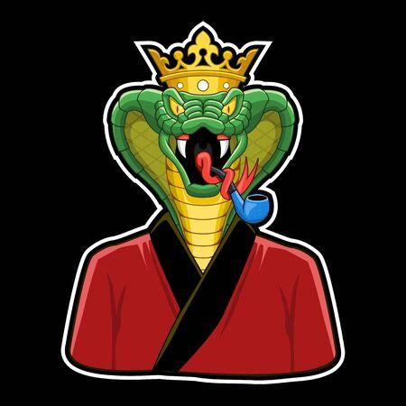 King Cobra Charakter, Kobra mit Krone und Pfeife und Pyjama
