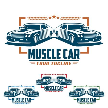 Template of Muscle car logo, retro logo style, vintage logo. Perfect for all automotive industry.