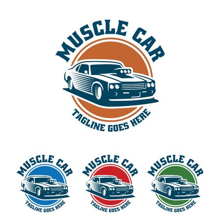 Template of Muscle car logo, retro logo style, vintage logo. Perfect for  all automotive industry. Illustration