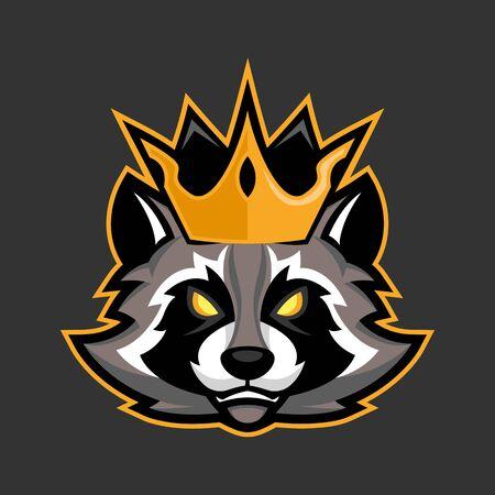 King raccoon mascot, Sport or esports racoon logo emblem