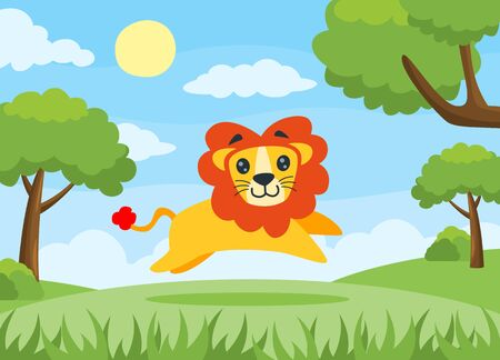 Vector illustration of a Lion running happily. Cartoon lion. Suitable to use for children book and animal education Çizim