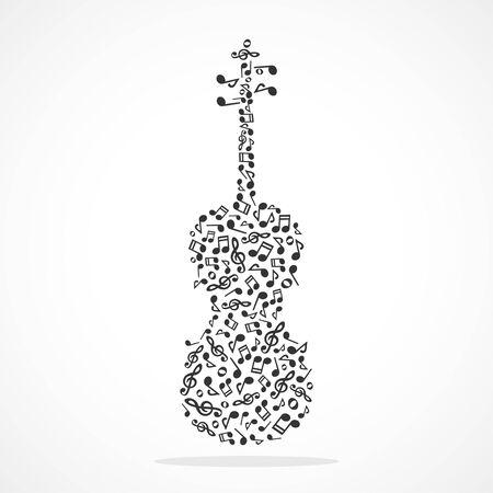 Music notes forming a violin Ilustração