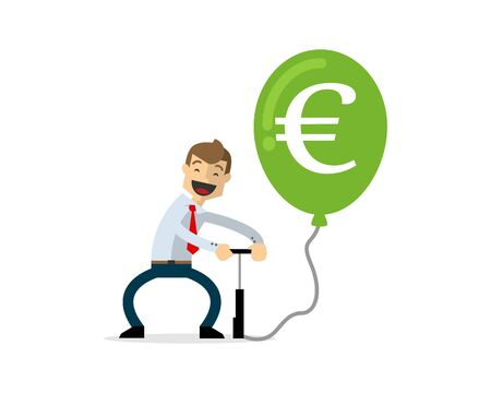 Ready to use website illustration or print illustration of businessman pumping euro balloon
