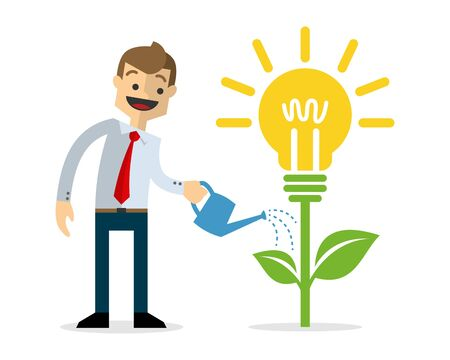 Ready to use website illustration or print illustration of businessman growing idea plant