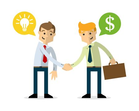 Ready to use website illustration or print illustration of businessman shake hands, selling idea