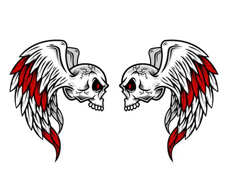 Skull logo, icon or skull illustration with wings, vector of skeleton. Ilustração