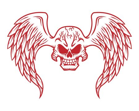 Skull logo, icon or skull illustration with wings, vector of skeleton.