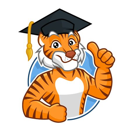 Education Tiger mascot vector in isolated white background, tiger character design, cartoon style