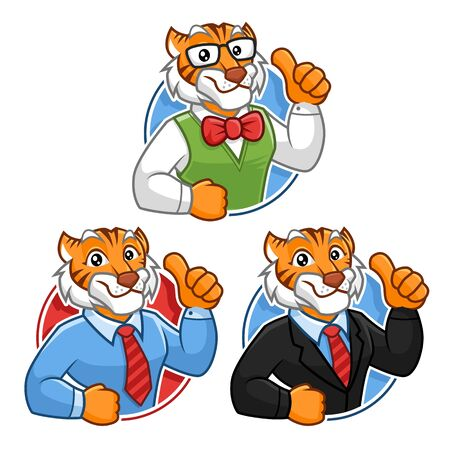 Businessman, Corporate and Geek Tiger mascot character design pack, cartoon style Illustration