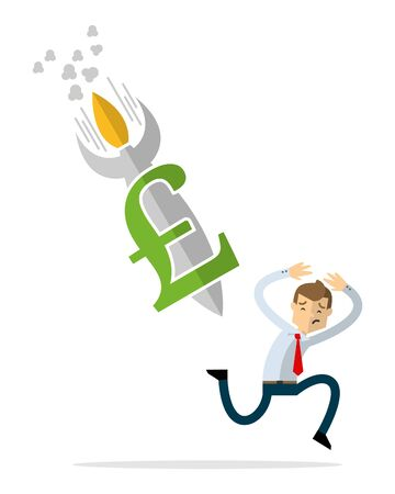 Ready to use website illustration or print illustration of businessman with pound sterling currency rocket down