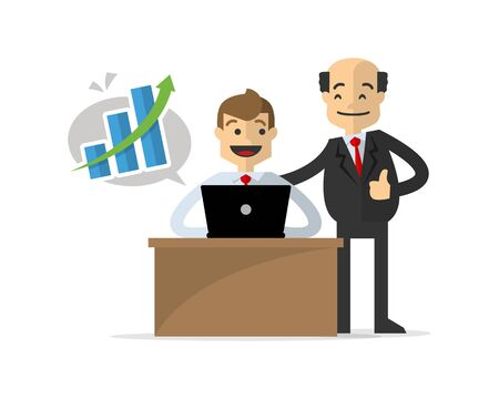 Website or print illustration of a businessman get a successful work, congratulated by his boss