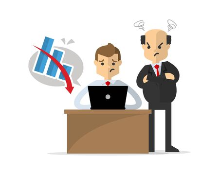 Website or print illustration of a businessman or employee get unsuccessful work, watched by his boss