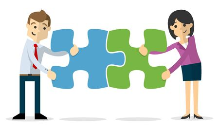 Web or print illustration of Vector of a businessman and business woman joining puzzles