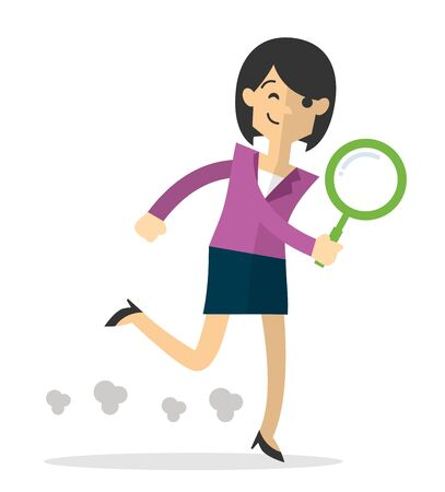 Web or print illustration of a businesswoman run holding magnifying glass, do a search