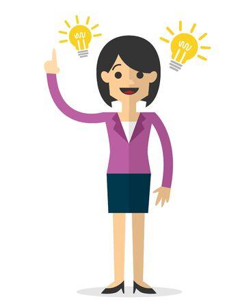 Internetowa lub drukowana ilustracja bizneswoman z pomysłem