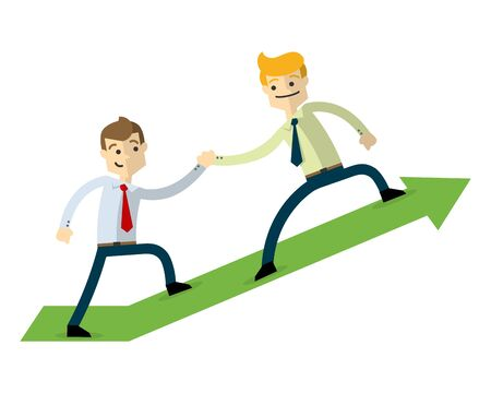 Ready to use website illustration or print illustration of a businessman doing a teamwork.