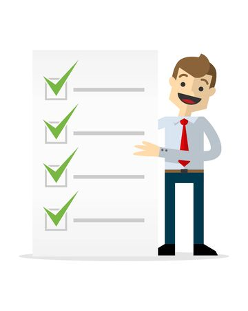 Ready to use website illustration or print illustration of a businessman with a list of check marks