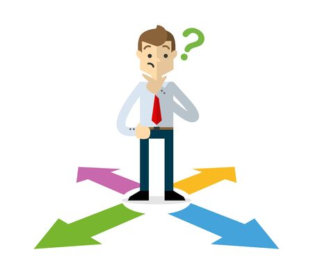 Ready to use website illustration or print illustration of a businessman choosing a right direction 2 Stock Illustratie
