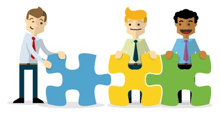 Ready to use website illustration or print illustration of a businessmen with puzzles, a teamwork