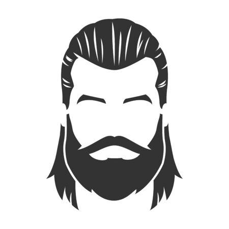 Vecteur de visage d'homme barbu, avec moustache, cheveux longs