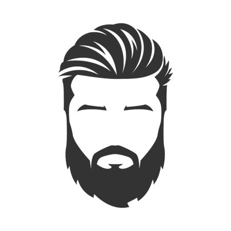 Vector of bearded man face, with mustache, isolated background