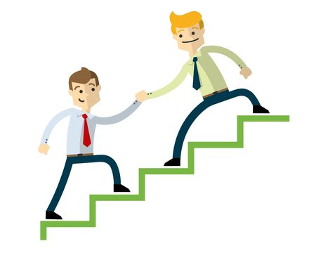 Ready to use website illustration or print illustration of a businessman doing a teamwork