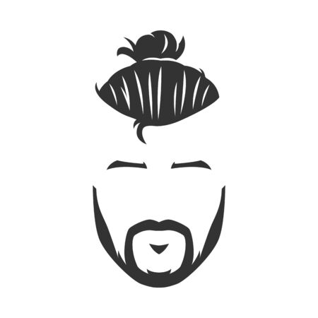 Vector hipster man bearded face with bun black and white Vetores