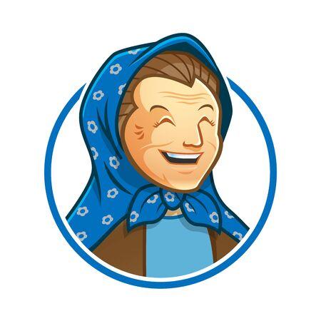 Grandma or granny mascot character with veil logo design, vector format