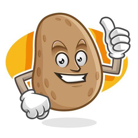 Disegno del personaggio di patate vettoriali o mascotte di patate, perfetto per logo, web e illustrazione di stampa Logo