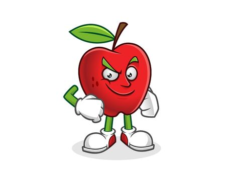 Confident apple mascot. Vector of Apple character. Apple logo Illustration