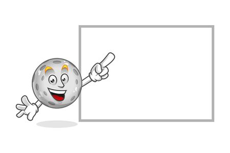 Vector Moon character design or Moon mascot, blank sign, blank board, white sign or board Illustration