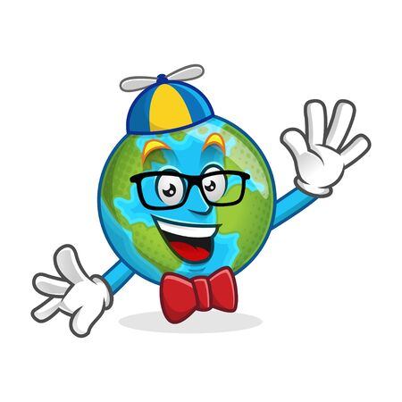 Cartoon character of an Earth, Earth mascot for your logo, web illustration or print illustration