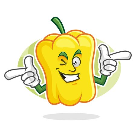Vector sweet pepper or paprika character design or sweet pepper mascot, perfect for logo, web and print illustration