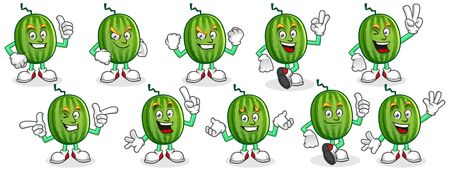 Vector Watermelon character design or Watermelon mascot, perfect for logo, web and print illustration