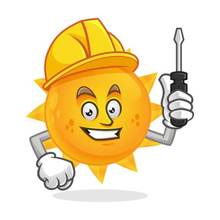 Vector worker Sun character design or Sun mascot, perfect for logo, web and print illustration