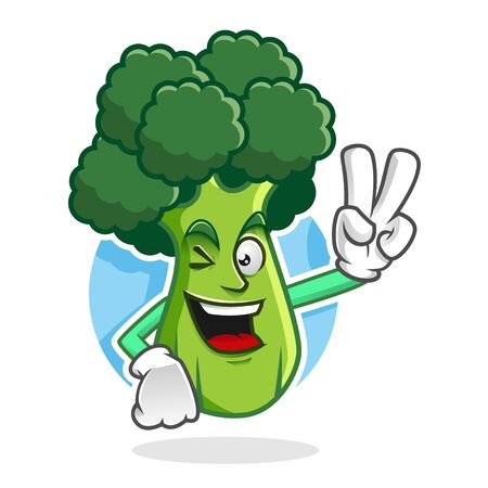 Broccoli character design or book mascot, perfect for logo, web and print illustration