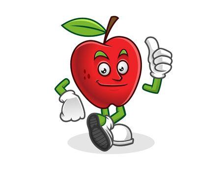 Thumb up apple mascot. Vector of Apple character. Apple logo