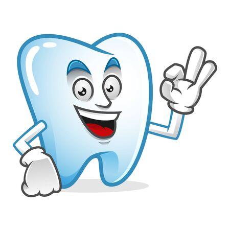 Vektorzahn-Charakterdesign oder Zahnmaskottchen, perfekt für Logo-, Web- und Druckillustration