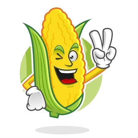 Corn character design or corn mascot, perfect for logo, web and print illustration