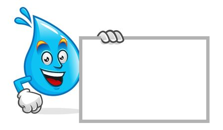 Vector water character design or water mascot, with blank sign or blank board, white sign empty write