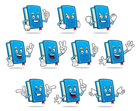 A set of Book character design or book mascot, perfect for logo, web and print illustration Иллюстрация