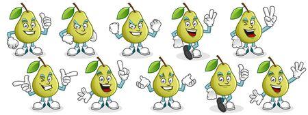Vector pear character design or pear mascot, perfect for logo, web and print illustration Иллюстрация