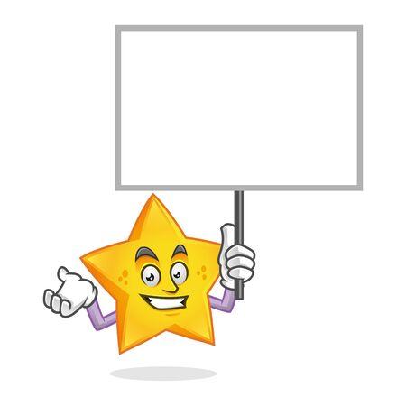 Vector Star character design or Star mascot, blank sign or blank board, white board white sign