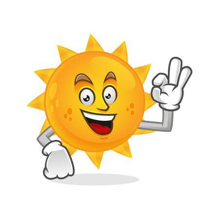 Vector Sun character design or Sun mascot, perfect for logo, web and print illustration Иллюстрация