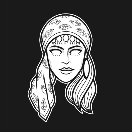 Black and white vector illustration of gypsy woman head