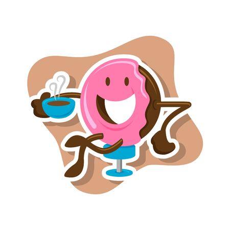 Doughnut character holding a cup of coffee, in vector format, perfect for cafe