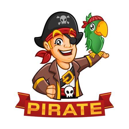 Piratenjungencharakter oder Maskottchenkarikatur mit einem Papagei an seinem Arm, lustige Vektorillustration